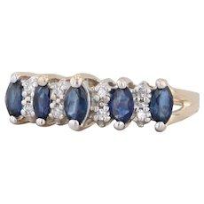 Tiered 0.58ctw Blue Sapphire Diamond Ring 14k Yellow Gold Size 6.75