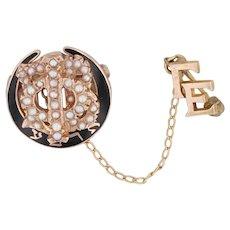 Gamma Phi Beta Sorority Pin 10k Gold Pearls Vintage Badge