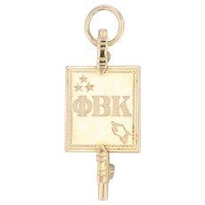 Phi Beta Kappa Honor Society Pin 10k Gold Key Badge Vintage Greek Fraternity