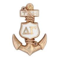 Vintage Delta Gamma Sorority Pin 10k Gold Greek Society Anchor Badge