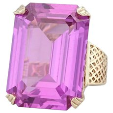 Synthetic Pink Purple Sapphire Ring 10k Yellow Gold S 7 Large Cocktail Solitaire