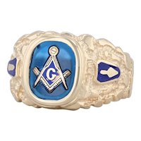 Masonic Square Compass Signet Ring 10k Gold Size 10.75 Synthetic Blue Spinel