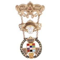 Vintage Past High Priest Medal 10k Gold Masonic York Rite Triple Tau Royal Arch