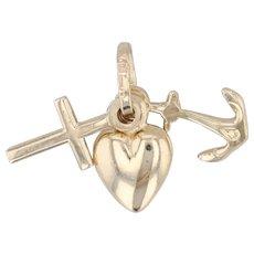 Faith Hope Charity Cross Heart Anchor Pendant 14k Yellow Gold Charm