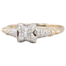 Vintage Diamond Engagement Ring 14k Yellow White Gold Size 6.5