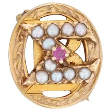 Beta Sigma Omicron Badge 14k Gold Pearls Synthetic Ruby Vintage Sorority Pin