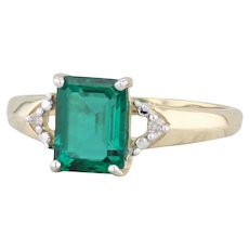 Synthetic Emerald Diamond Ring 10k Yellow Gold Size 7 May Birthstone Engagement
