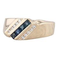 0.60ctw Blue Sapphire Diamond Ring 14k Yellow Gold Size 8.75 Bypass