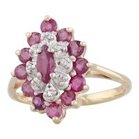 0.97ctw Ruby Diamond Halo Ring 10k Yellow Gold Size 4.5 Marquise