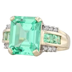8.3ctw Synthetic Green Sapphire Ring 10k Yellow Gold Size 7.25 Diamond Accents