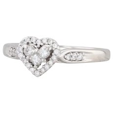0.21ctw Diamond Heart Halo Engagement Ring 14k White Gold Sz 8.5 Cathedral Band
