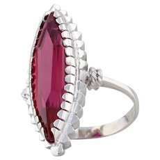 Vintage Synthetic Ruby Marquise Statement Ring 18k White Gold Solitaire