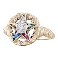 Order of the Eastern Star Ring Diamond 10k Yellow Gold Size 6.25 OES Masonic