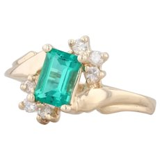 0.67ctw Synthetic Emerald Diamond Ring 14k Yellow Gold S 5 Bypass May Birthstone
