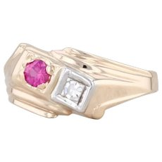 Vintage Synthetic Ruby Diamond Ring 14k Yellow Gold Size 5.5