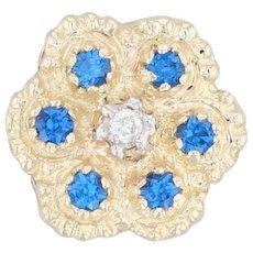 0.33ctw Synthetic Blue Spinel Diamond Flower Pendant 10k Yellow Gold Slide Charm