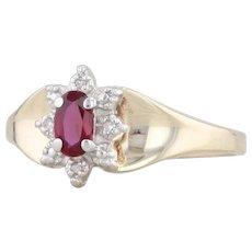 0.27ctw Synthetic Ruby Diamond Halo Ring 10k Yellow Gold Sz 7.25 Oval Solitaire