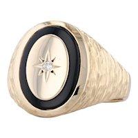 Onyx Diamond Star Signet Ring 10k Yellow Gold Hammered Size 10.5 Men's