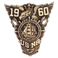 US Naval Academy Eagle Crest Badge 14k Gold Honor Award 1960 Vintage Military Pin