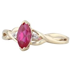0.75ct Synthetic Ruby Diamond Ring 10k Yellow Gold Size 7 Marquise Solitaire