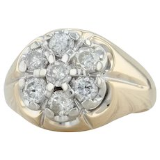 2.48ctw Diamond Cluster Ring - 14k Yellow & White Gold Size 15 Halo Flower