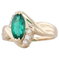 Synthetic Emerald Diamond Bypass Ring 14k Yellow Gold Size 5.75 Marquise