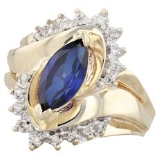 1.55ctw Synthetic Sapphire Diamond Ring 10k Yellow Gold Marquise Size 6.25