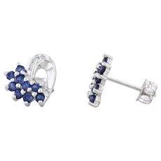 0.53ctw Blue Synthetic Sapphire Diamond Earrings 10k White Gold Heart Studs