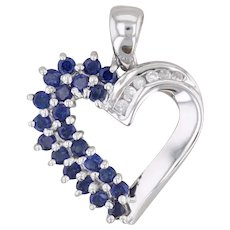 0.76ctw Blue Synthetic Sapphire Diamond Heart Pendant 10k White Gold