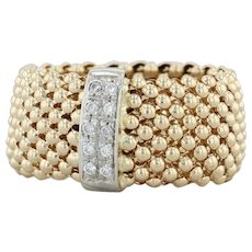 CZ Bead Mesh Chain Ring - 14k White & Yellow Gold Size 8.5 Cubic Zirconias