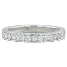 .45ctw Diamond Wedding Band - 14k White Gold Size 7.5 Wheat Engraved Ring