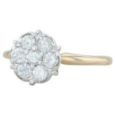 Vintage .48ctw Diamond Engagement Ring - 14k Yellow White Gold Size 6.5 Cluster