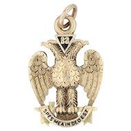Masonic Scottish Rite Fob - 32nd Degree Eagle 14th Degree Yod Antique 14k Gold