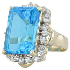 20.60ctw Blue Topaz & CZ Cocktail Ring - 14k Yellow Gold Size 7.5 Halo