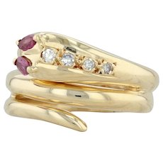 .27ctw Ruby & Diamond Coiled Snake Ring - 18k Yellow Gold Size 6.5 Serpent