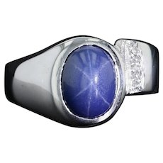 Linde Synthetic Star Sapphire & Diamond Ring - 14k White Gold Size 6.25