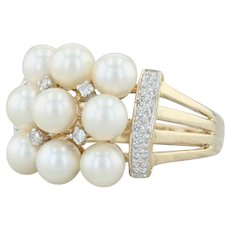 Cultured Pearl Diamond Cluster Ring - 14k Yellow Gold Size 8.25 Cocktail Vintage