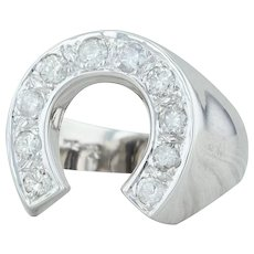 .90ctw Diamond Horseshoe Ring - 14k White Gold Size 10 Men's Western Good Luck