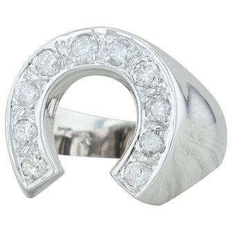 .90ctw Diamond Horseshoe Ring - 14k White Gold Size 10 Men's Western Good Luck