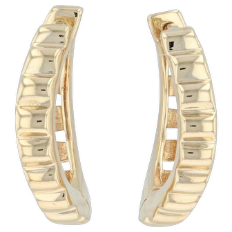 Small Ribbed Hoop Huggie Earrings - 18k Yellow Gold Hinged Snap Closure Pierced