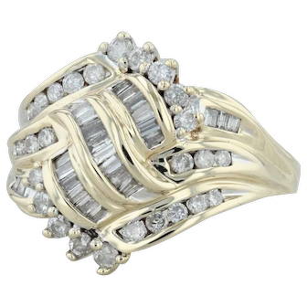 1ctw Diamond Cluster Ring - 10k Yellow Gold Size 10.75 Cocktail Women's