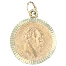 1877 Dutch 5 Mark Coin Pendant - 14k & 900 Gold German Empire Wilhelm Kaiser