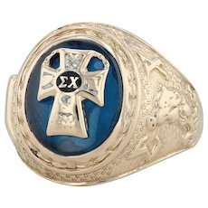 Sigma Chi Fraternity Ring- 10k Gold Size 9.5 Cross Signet Men's Synthetic Spinel