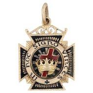 York Rite Masonic Fob - 14k Yellow Gold Knights Templar Royal Arch Cross