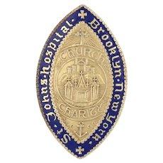 St John's Hospital Pin - 10k Gold Brooklyn New York Vintage Medical Crest 1946