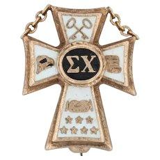 Sigma Chi Cross Badge - 10k Yellow Gold Fraternity Pin Vintage Greek Society