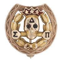 Delta Sigma Pi Skull Badge - 10k Yellow Gold Amethyst Business Fraternity Pin