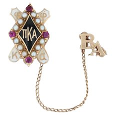 Pi Kappa Alpha Badge - 14k Gold Pearls Rubies Pike Vintage Fraternity Pin