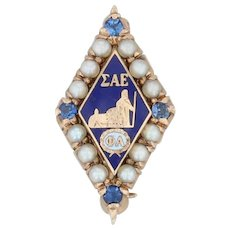 Sigma Alpha Epsilon Badge - 10k Gold Pearl Synthetic Sapphire SAE Fraternity Pin