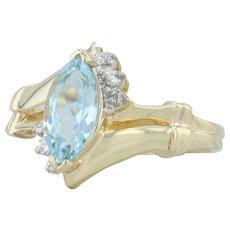 .82ctw Aquamarine & Diamond Ring - 14k Yellow Gold Size 7 Bypass Band March